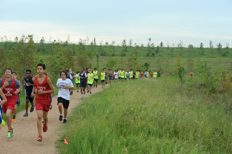 Snapshot from the middle school cross country meet hosted by Westbury High School on 9/27