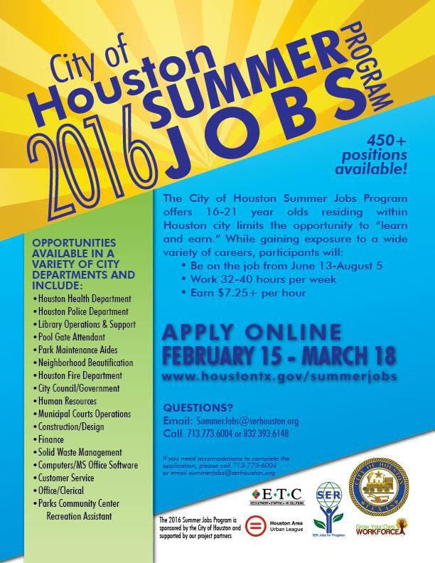City Of Houston Summer Jobs Program 5 Corners District