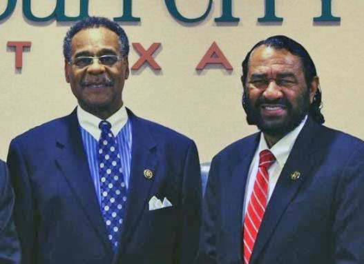 Congressmen Emanuel Cleaver and Al Green in Missouri City, TX on June 27, 2015.