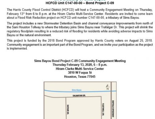 Sims Bayou Bond Project C-09 Community Engagement Meeting, Feb. 13