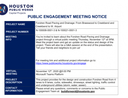 Public Meeting Notice Fondren Rd. Paving and Drainage, Nov. 12