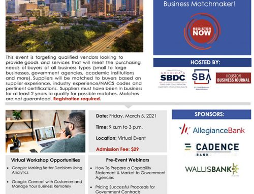 2nd Annual Houston Business Matchmaker- March 5, 2021 – Registration Now Open