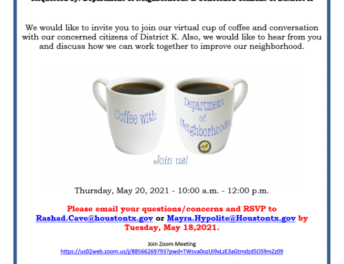Coffee and Virtual Conversation With District K, May 18