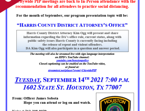 CANCELED: HPD Chief's Citywide PIP Meeting Invitation for Tuesday, Sept. 14